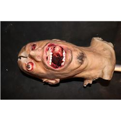 SEVERED SILICONE HEAD HIT WITH AXE AND EXPLODING EYES