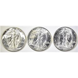 (3) 1942 WALKING LIBERTY HALVES, CH BU