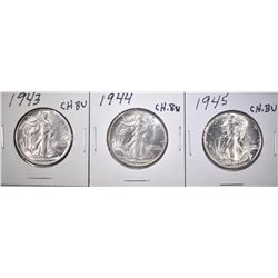 1943, 44 & 45 CH BU WALKING LIBERTY HALVES