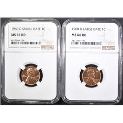 1960-D SM & LG DATE LINCOLN CENTS, NGC MS-66 RED