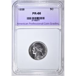 1938 JEFFERSON NICKEL, APCG SUPERB GEM PROOF