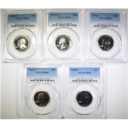 (5) PROOF WASHINGTON QTRS, ALL PCGS PR-68