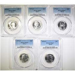 5-1976-S SILVER WASHINGTON QTRS, PCGS MS-67