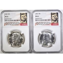 2-1964 KENNEDY HALF DOLLARS, NGC MS-66