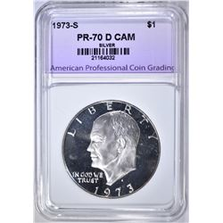 1973-S SILVER IKE DOLLAR, APCG PERFECT GEM PR DCAM