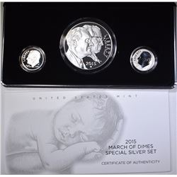 2015 MARCH OF DIMES SPECIAL 3-PIECE SILVER COIN SE