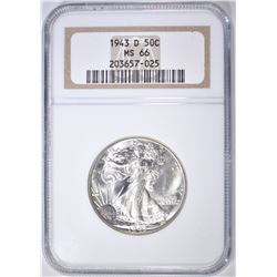 1943-D WALKING LIBERTY HALF DOLLAR  NGC MS-66