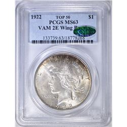 1922 PEACE DOLLAR  PCGS MS-63 CAC