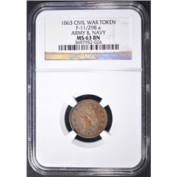1863 CIVIL WAR TOKEN NGC MS-63 BN