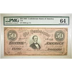 1864 $50 CONFEDERATE STATES OF AMERICA PMG 64