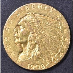 1908 $2.5 GOLD INDIAN  BU