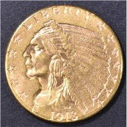1913 $2.5 GOLD INDIAN CH/GEM BU