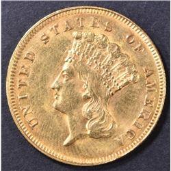1878 $3 GOLD INDIAN PRINCESS  CH BU
