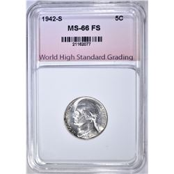 1942-S SILVER JEFF. NICKEL, WHSG SUPERB GEM BU FS