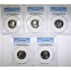 5-1971-S WASHINGTON QUARTERS, PCGS PR-69