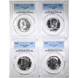 4-1966 SMS KENNEDY HALF DOLLARS, PCGS SP-66