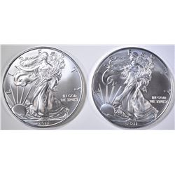 2-GEM BU 2011 AMERICAN SILVER EAGLES