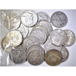 20-MIXED 90% SILVER HALF DOLLARS