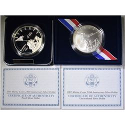 2005 PF & UNC MARINES COMMEM SILVER DOLLARS