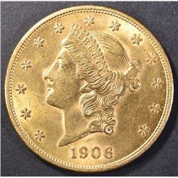 1906 $20 GOLD LIBERTY CH BU FLASHY