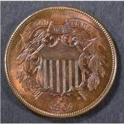 1864 2 CENT CH/GEM BU  RB  GREAT COLOR