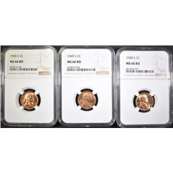 3-S MINT WHEAT CENTS 40, 49, & 55 NGC MS-66 RD