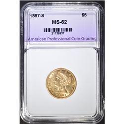 1897-S $5.00 GOLD LIBERTY, APCG CH BU