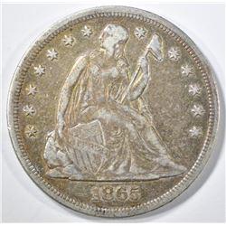 1865 SEATED LIBERTY DOLLAR  VF/XF