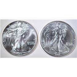 1991 & 93 AMERICAN SILVER EAGLES