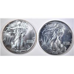 1994 & 95 AMERICAN SILVER EAGLES