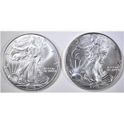 2001 & 2002 AMERICAN SILVER EAGLES