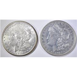 1921-D AU & 21-S BU MORGAN DOLLARS