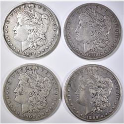 4 MORGAN DOLLARS 1888-O, 91-O, 99-O, 1900-O