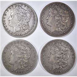 4 MORGAN DOLLARS 1882-O,S, 84, 98-S