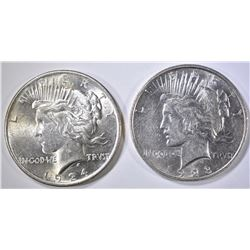 1923-D AU/BU & 1924 BU PEACE DOLLARS