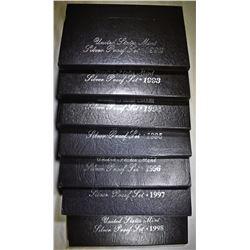 1992-1998 U.S. SILVER PROOF SETS IN ORIG PACKAGING
