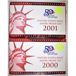 2000 & 2001 U.S. SILVER PROOF SETS ORIG PACKAGING