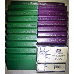 2-EACH 1990-99 U.S. PROOF SETS ORIG PACKAGING