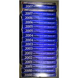 2-EACH 2000-2007 U.S. PROOF SETS ORIG PACKAGING