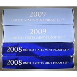 2-2008 & 2-2009 U.S. PROOF SETS ORIG PACKAGING