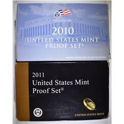 2010 & 2011 U.S. PROOF SETS ORIG PACKAGING