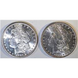 1881-S & 83-O MORGAN DOLLARS CH BU
