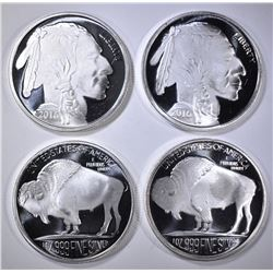 4-INDIAN/BUFFALO ONE OUNCE .999 SILVER ROUNDS