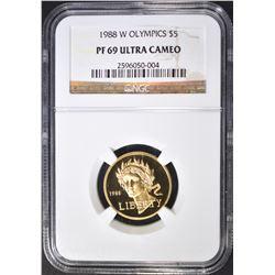 1988-W OLYMPICS $5 GOLD NGC PF-69 ULTRA CAM