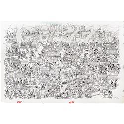 Sergio Aragones original artwork 'A MAD Peek Behind the Scenes at a Terrorist Training Camp'.