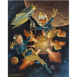 Frank Brunner original painting 'Space Duck' featuring 'Howard the Duck'.