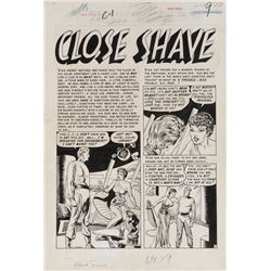 Reed Crandall original artwork for Weird Science-Fantasy #27 complete 6-page story 'A Close Shave'.