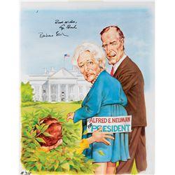 Mort Drucker original cover artwork for Mad Magazine #315 featuring George Bush and Barbara Bush.