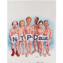 Mort Drucker original cover artwork for MAD Magazine #329 featuring NYPD Blue.
