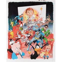 Mort Drucker original artwork for 'MAD Magazine Tribute to Warner Bros. 75th Anniversary'.